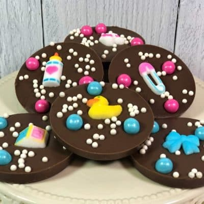 chocolate baby favors assorted pink blue