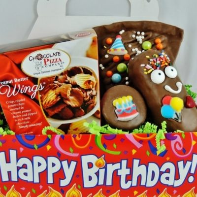 happy birthday chocolate basket with peanut butter wings birthday slice in festive tote