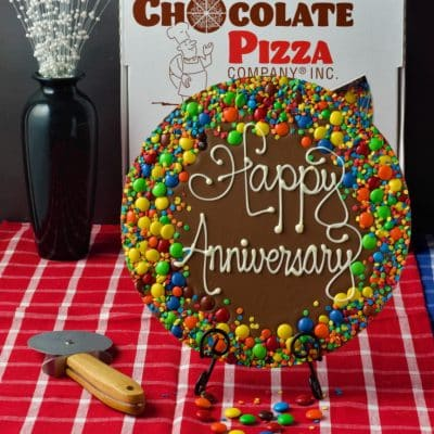 anniversary chocolate pizza on table