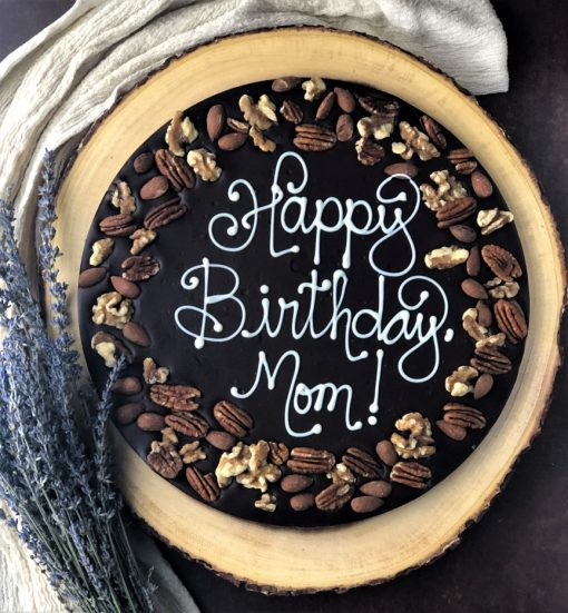 happy birthday mom chocolate pizza in dark chocolate with nuts