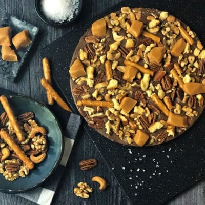 chocolate pizza with pretzels caramel cashews pecans walnuts