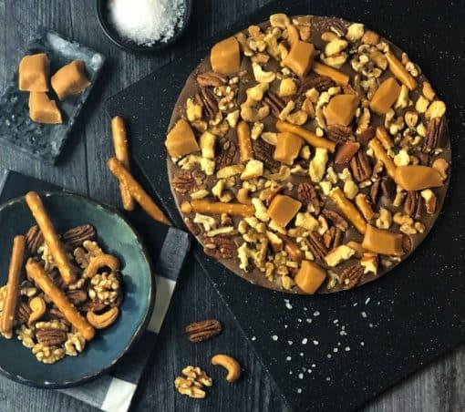 chocolate pizza with pretzels caramel cashews pecans walnuts