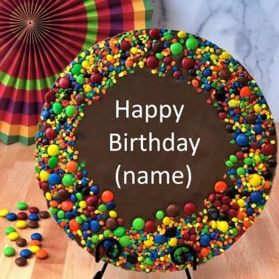 custom chocolate pizza with colorful candy border