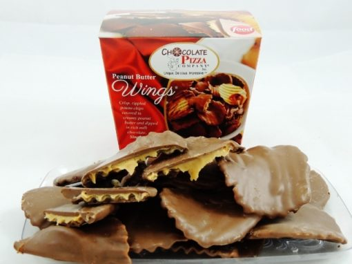 peanut butter wings are potato chips covered in peanut butter and drenched in milk chocolate