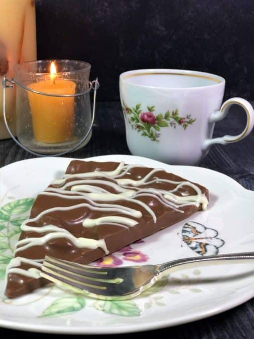 milk plain chocolate slice on dinner plate