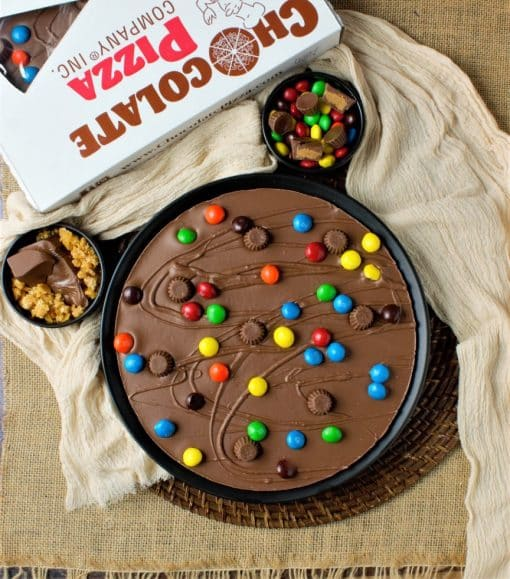 flat lay view of peanut butter cups Chocolate Pizza