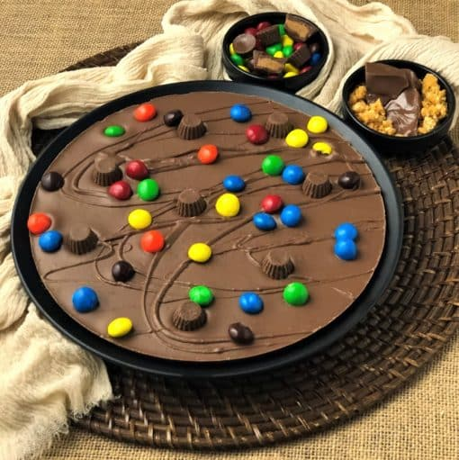 peanut butter cups on Chocolate Pizza