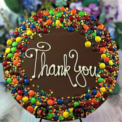 thank you chocolate pizza with candy border