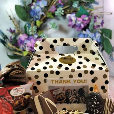thank you gift box filled with chocolate