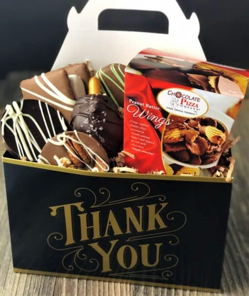 thank you chocolates in black gold tote box
