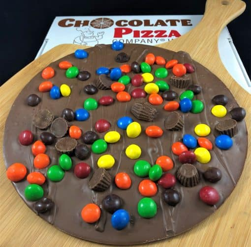 peanut butter cups and candy top Chocolate Pizza