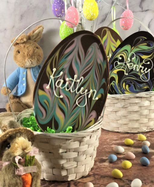 personalized chocolate Easter eggs with pastel swirls