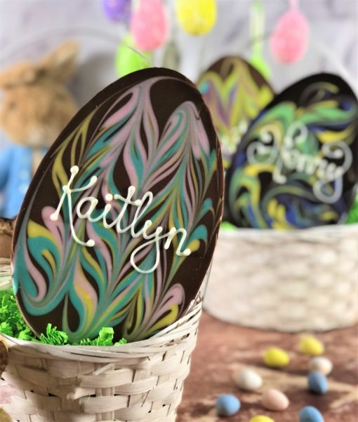 milk chocolate personalized chocolate egg with pastel colors