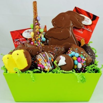 Hoppy Easter basket with chocolate bunny
