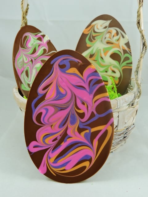 Chocolate Easter Egg Handmade Pastel Swirls 6 Oz