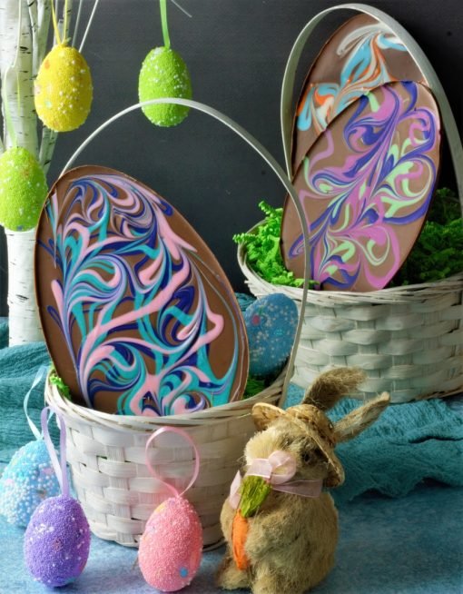 swirled chocolate Easter egg with pastel colors