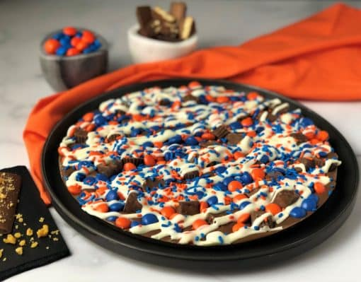 Syracuse Chocolate Pizza with orange blue candies