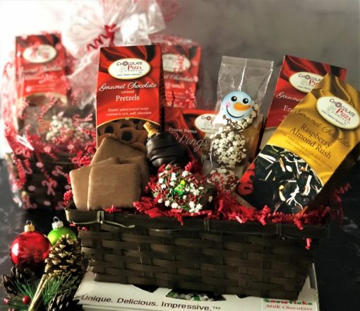 holiday magic gift basket and chocolate pizza