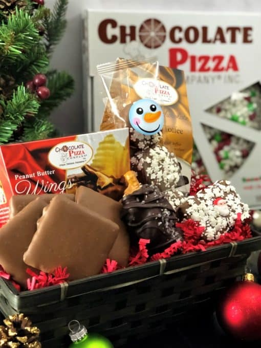 let it snow gift basket and chocolate pizza