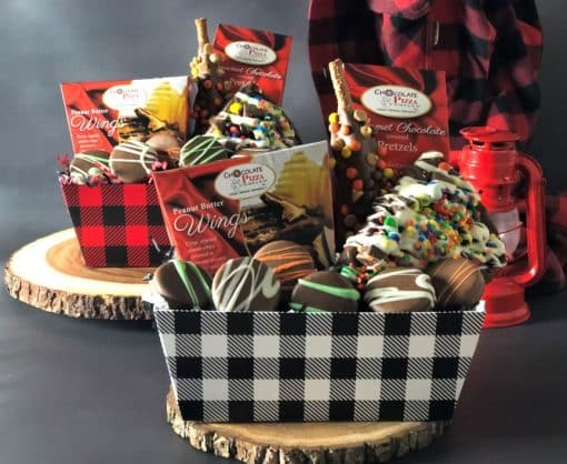 lumberjack chocolate gifts on wood slabs