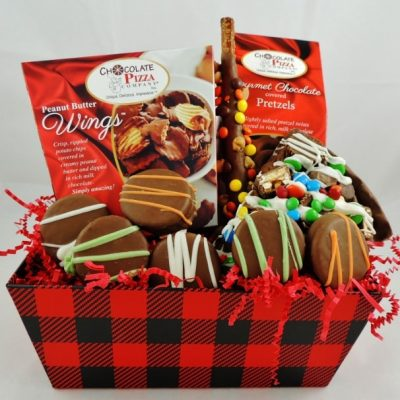 lumberjack gift basket for men with peanut butter wings avalanche slice