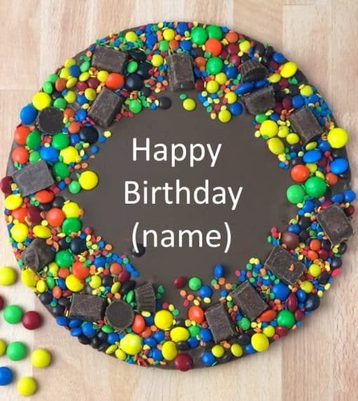 personalized birthday chocolate with colorful candy border