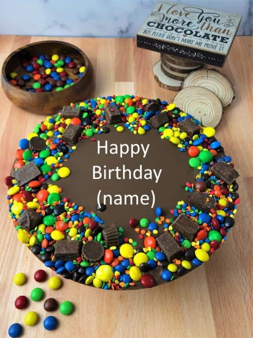 personalized birthday chocolate pizza with candy border