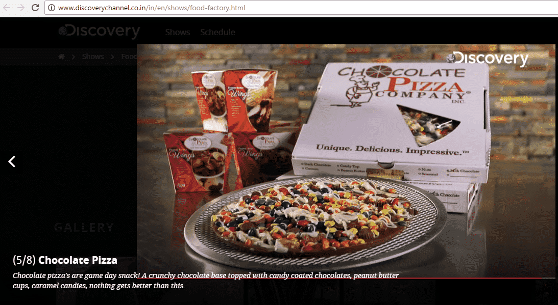 Discovery Channel India | Food Factory TV - Chocolate Pizza Company