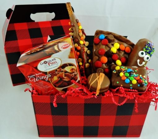 lunch bucket gift basket for guys with peanut butter wings chocolate pizza slice