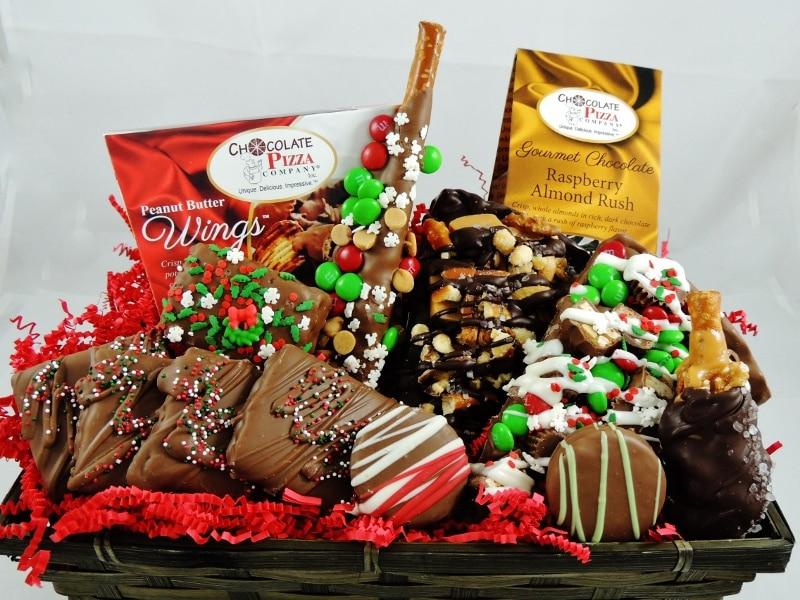 Christmas Gift Basket | Chocolate Pizza Slices & gourmet chocolate ...