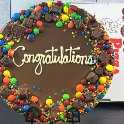 chocolate congratulations pizza with candy border