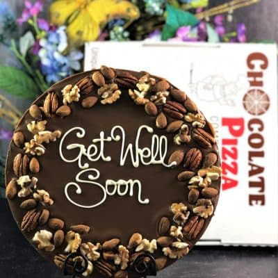 dark chocolate pizza with nuts get well soon