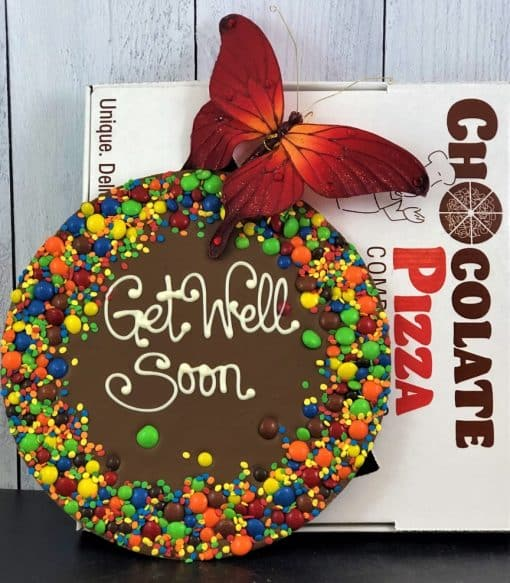 get well soon chocolate pizza with box and butterfly