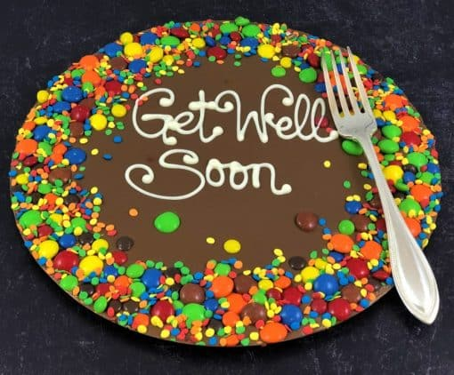 get well soon chocolate pizza with a fork