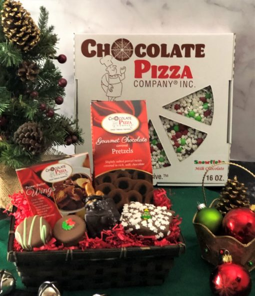 happy holidays gift basket with chocolate pizza