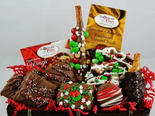 happy holidays chocolate gift baskets