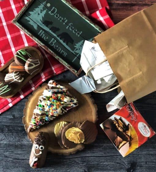 chocolate treats in paper bag mansket gift basket