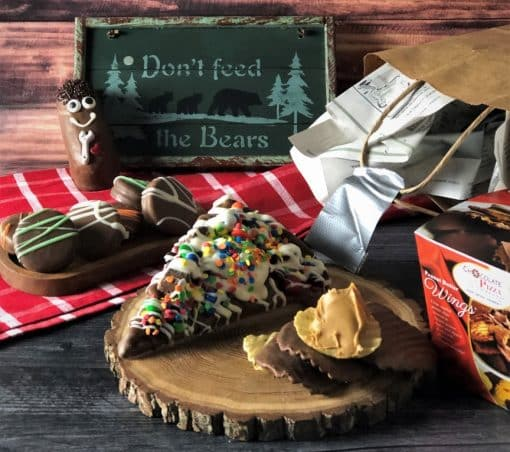 mansket chocolate treats in a paper bag