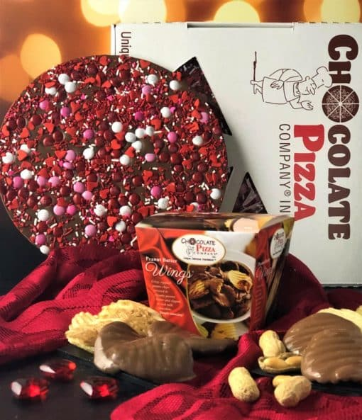 picture of combo Chocolate Pizza with red candy decoration and Peanut Butter Wings