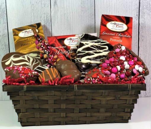 Valentines gift basket of milk and dark chocolate