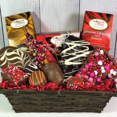 gourmet chocolate in a wicker gift basket