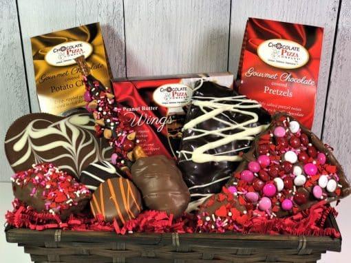 milk and dark Valentines chocolates in a wicker gift basket