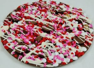 Valentines avalanche chocolate pizza