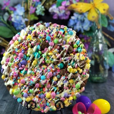 Easter Chocolate Pizza with pastel chocolates