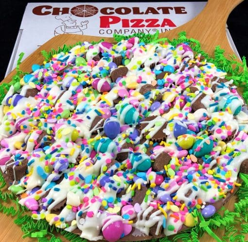 Easter avalanche Chocolate Pizza with pastel candy