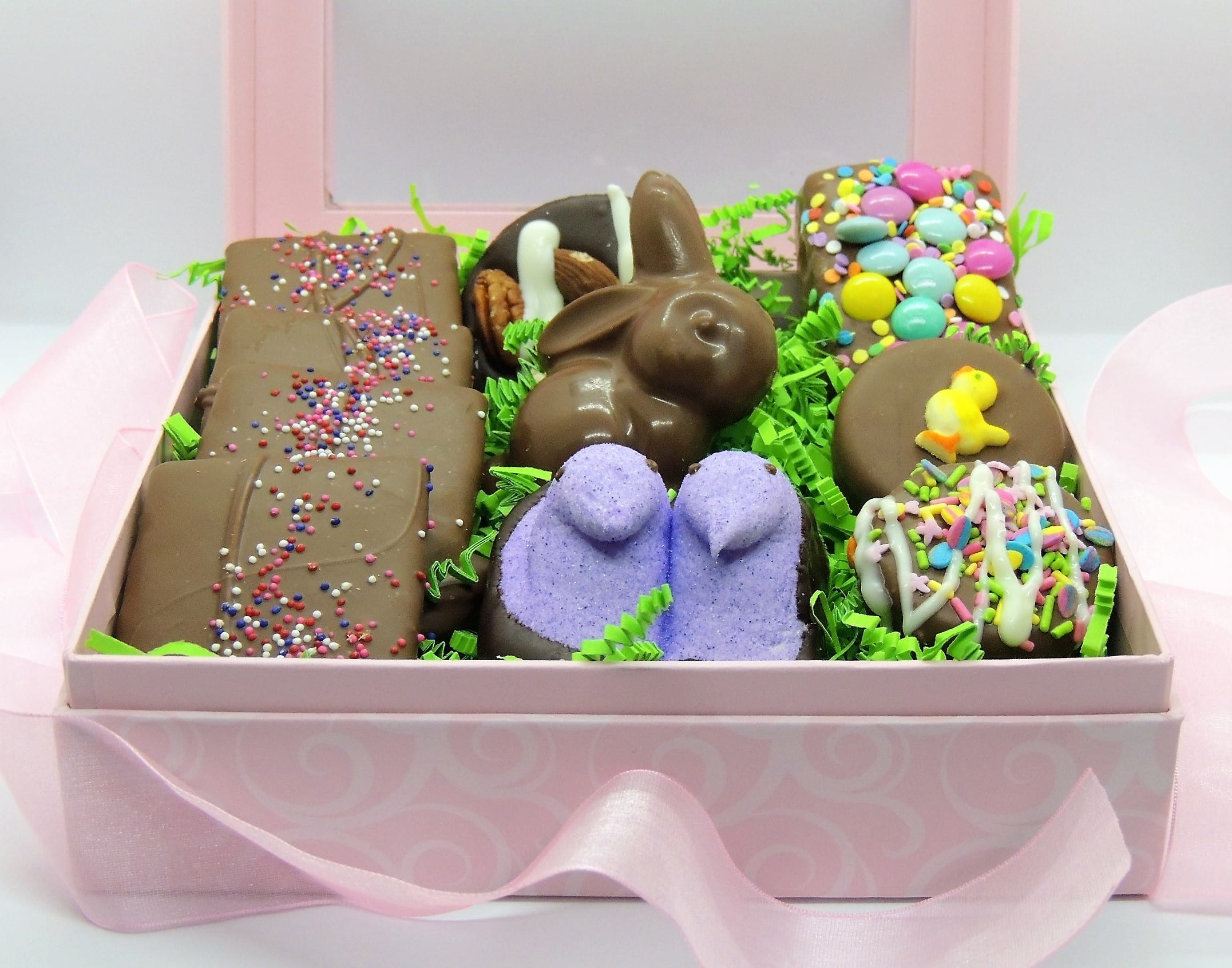 Easter gifts for her gourmet chocolate dressed in pink negle