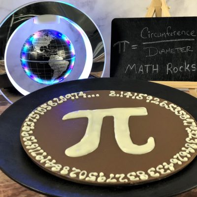 Pi Day Chocolate Pizza on plate in milk chocolate