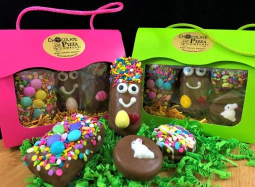 Easter chocolate treats for kids in a spring treasures tote