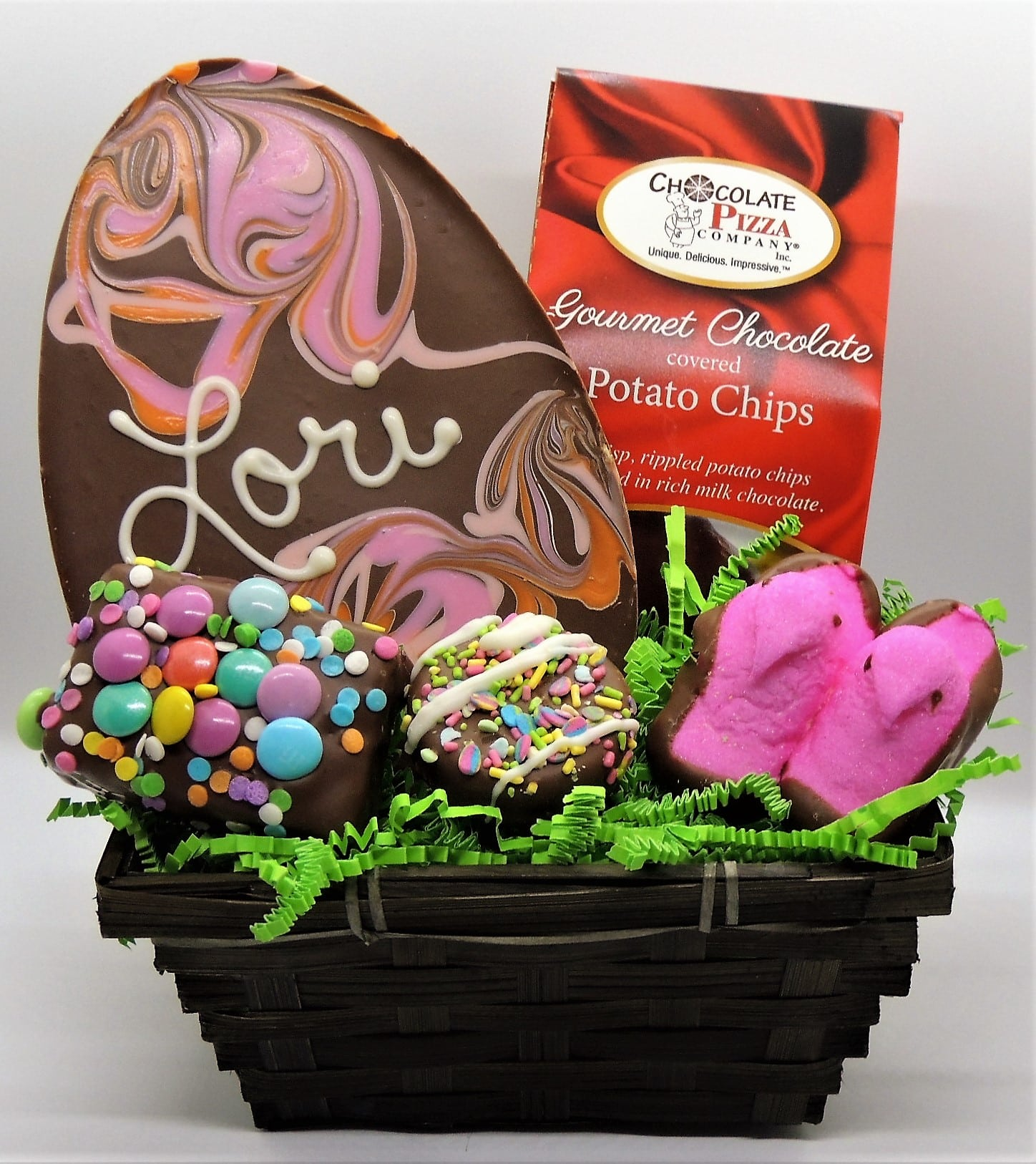 Easter basket with personalized easter egg pastel chocolates negle Gallery