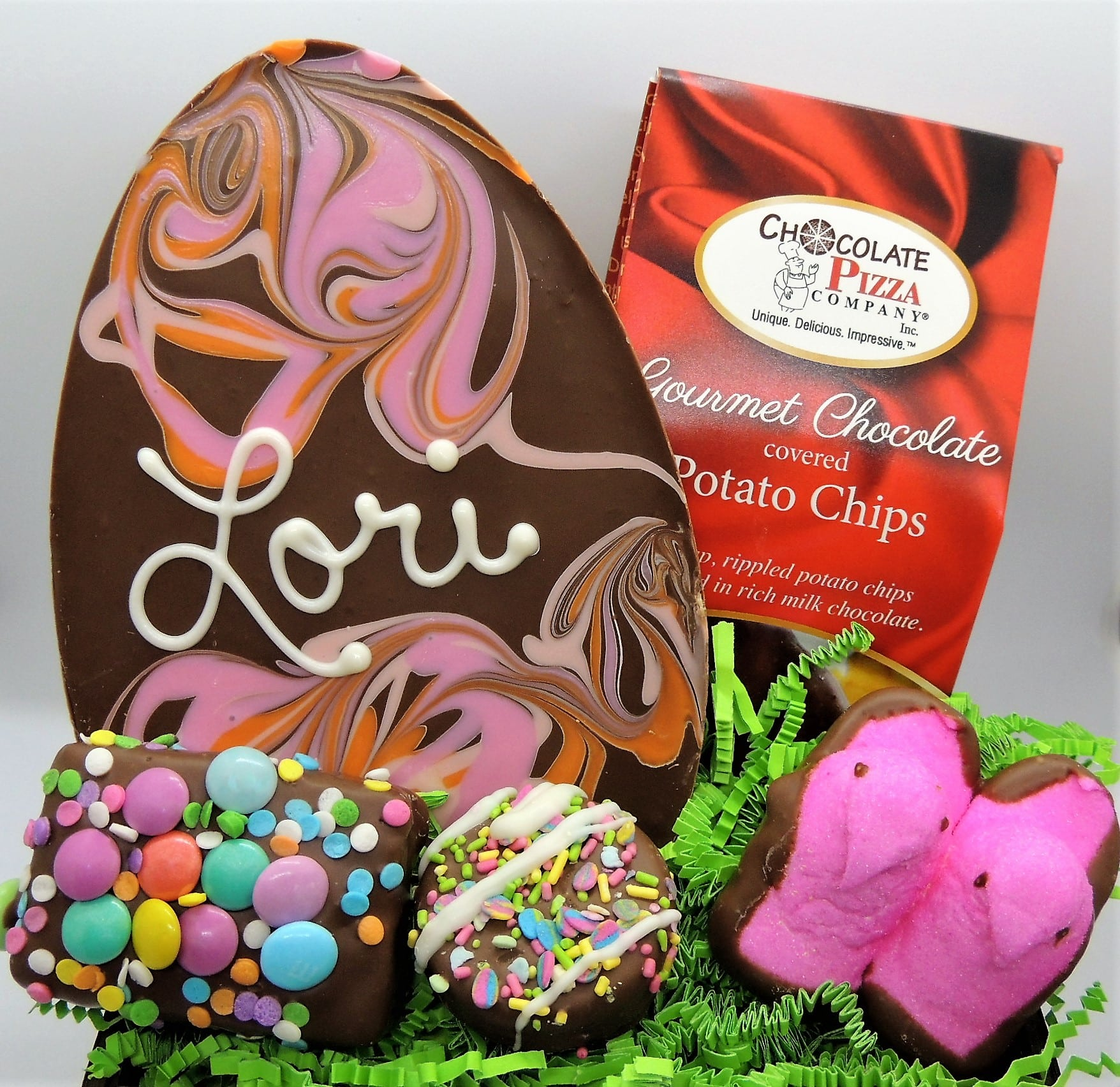 Seasonal gift ideas handcrafted gourmet chocolate gifts easter basket with personalized easter egg pastel chocolates negle Image collections